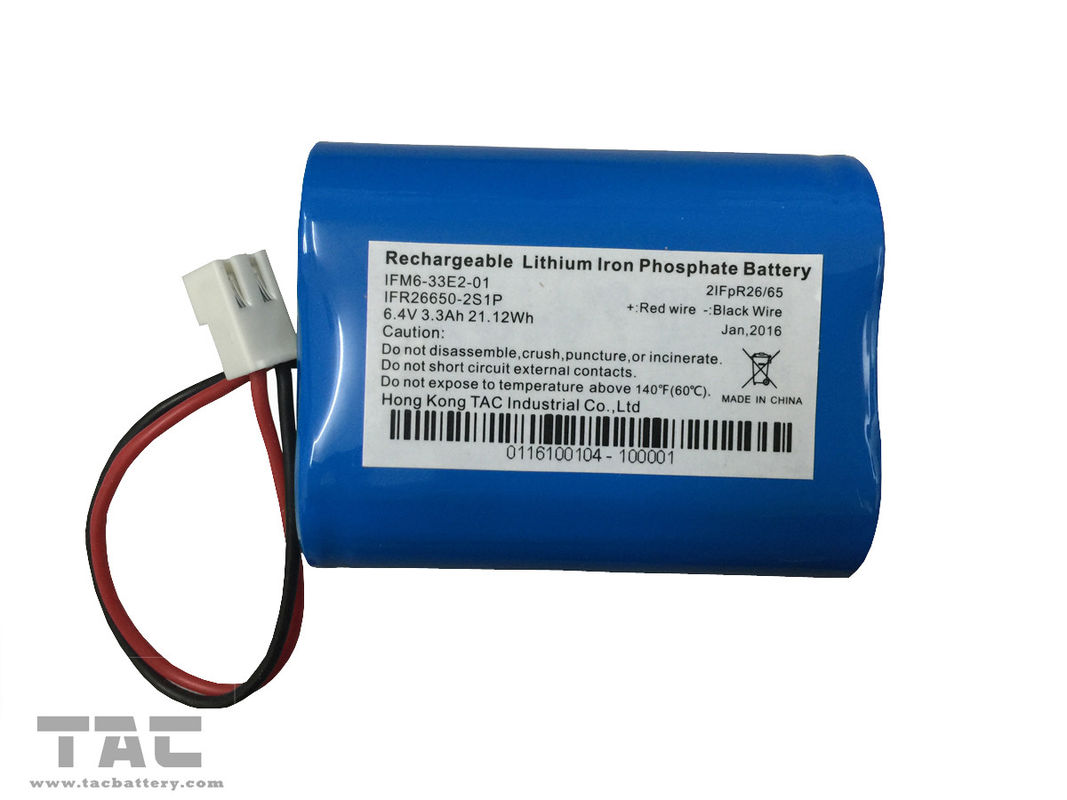 Rechargeable IFR26650 3.3Ah 2S1P 6.4V LiFePO4 Battery With BMS