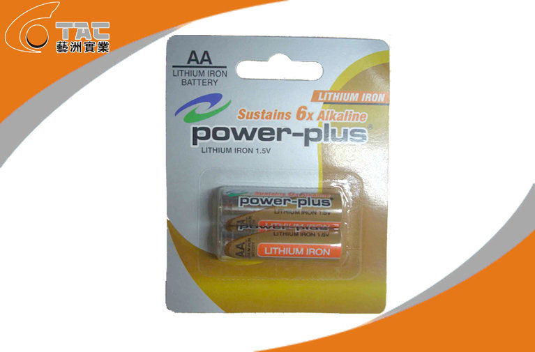 Primary Lithium Iron Battery LiFeS2 1.5V AA / L91 Power Plus Brand for GPS